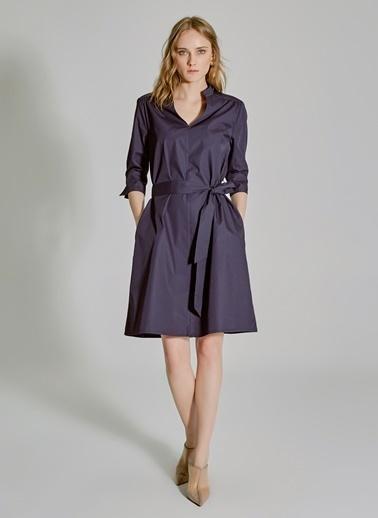People By Fabrika Bağlama Detaylı Poplin Gömlek Elbise Lacivert
